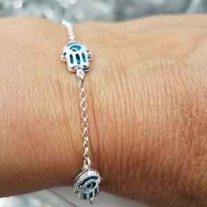 Jewelry - Evil eye Chamseh Blue & Silver Bracelet 7.5 inches